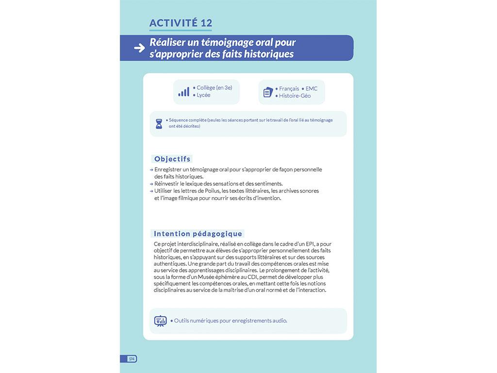 Activité - réaliser un témoignage - Enseigner l'oral