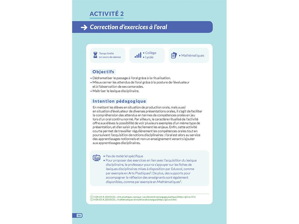 Activité - correction d'exercices à l'oral
