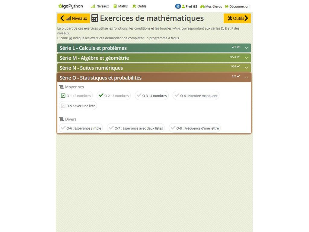 Exercices de mathématiques - AlgoPython