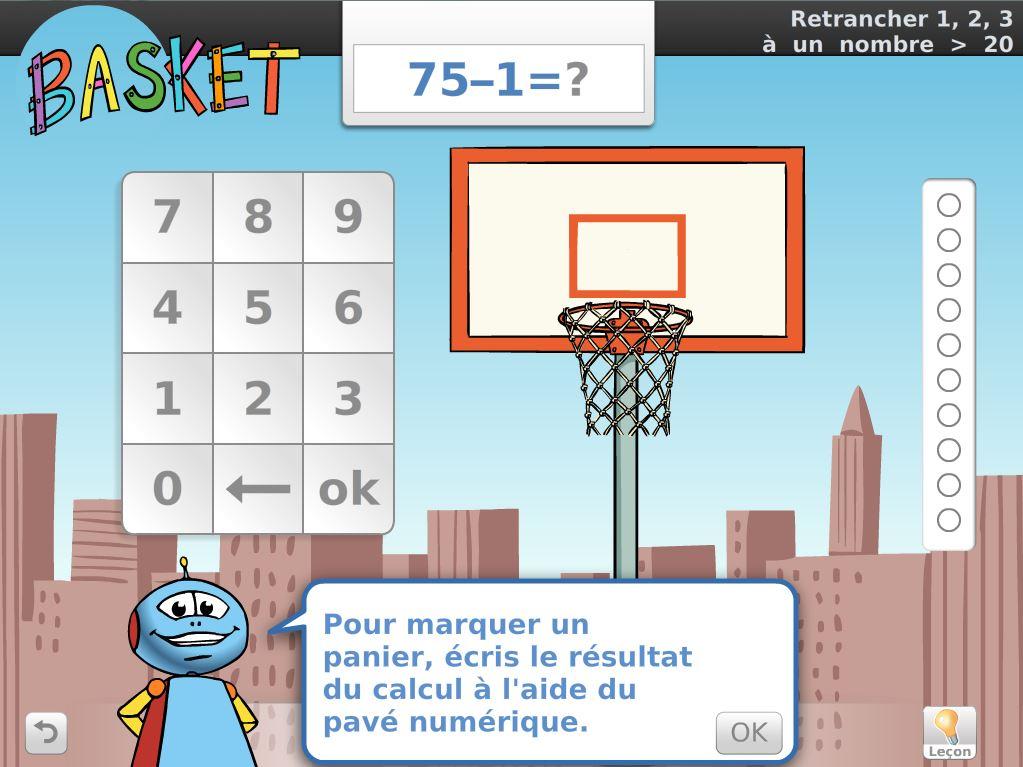Calcul Mental - Jeu du basket