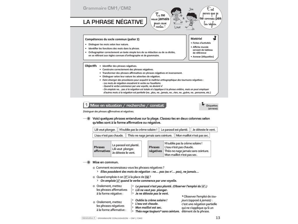 Grammaire Conjugaison Cm1 Cm2 Preparation De Sequences Et Activites