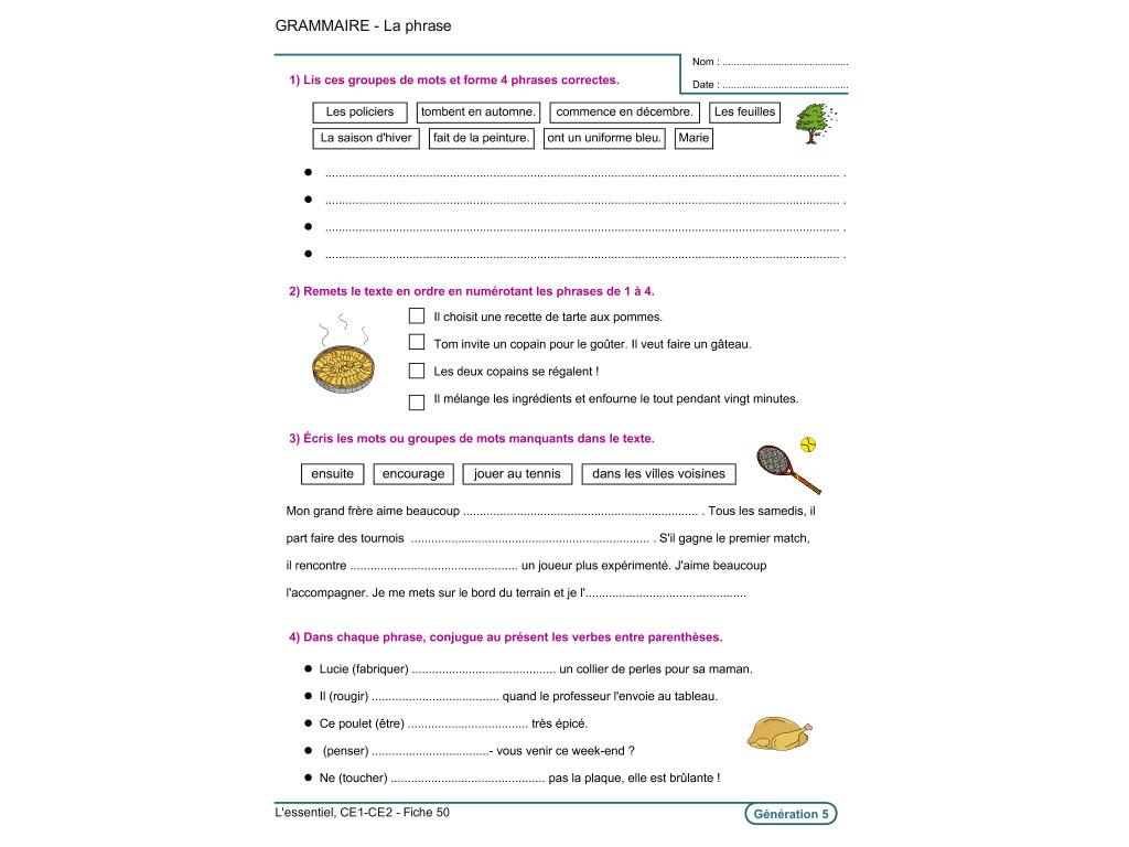 Fiche exercice de grammaire au CE1 et CE2