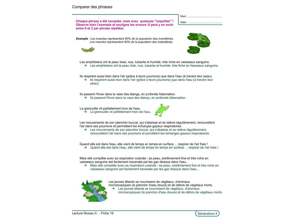 Fiche exercice de lecture au CE2, CM1, CM2
