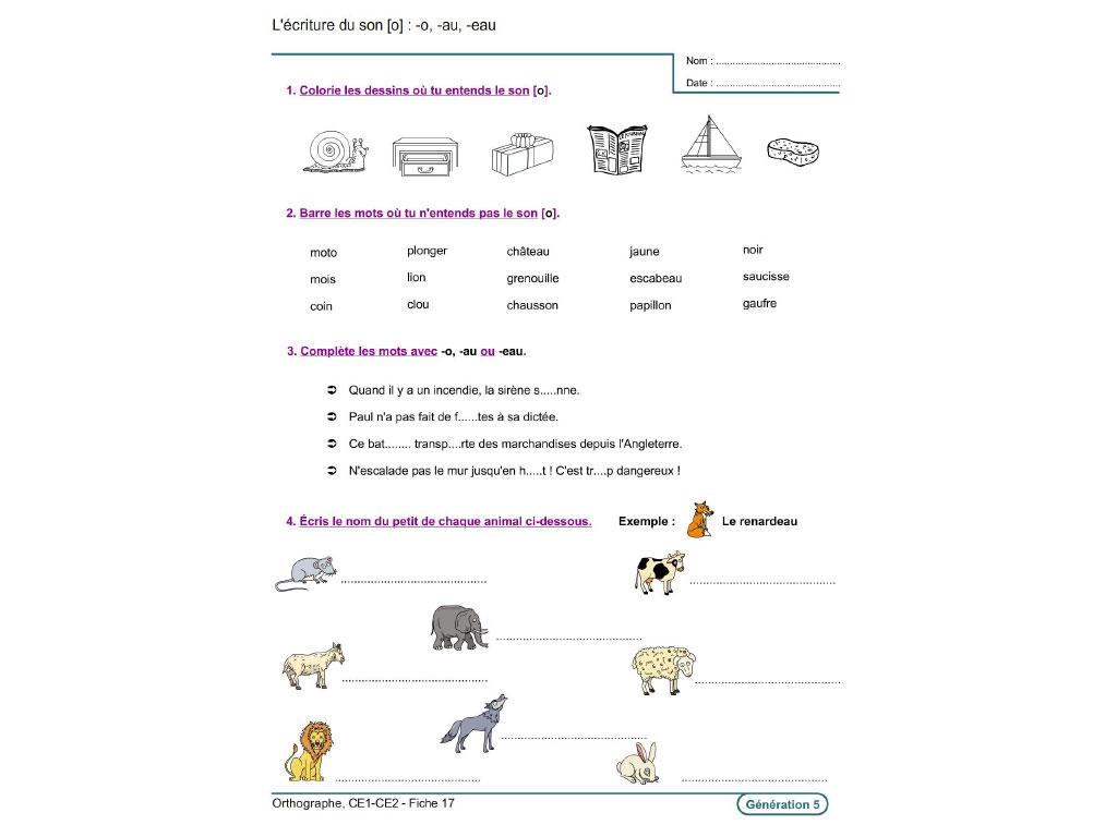 Fiche exercice écriture CE1-CE2