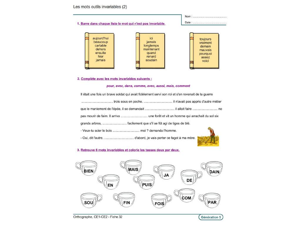 Fiche exercice mots invariables CE1-CE2
