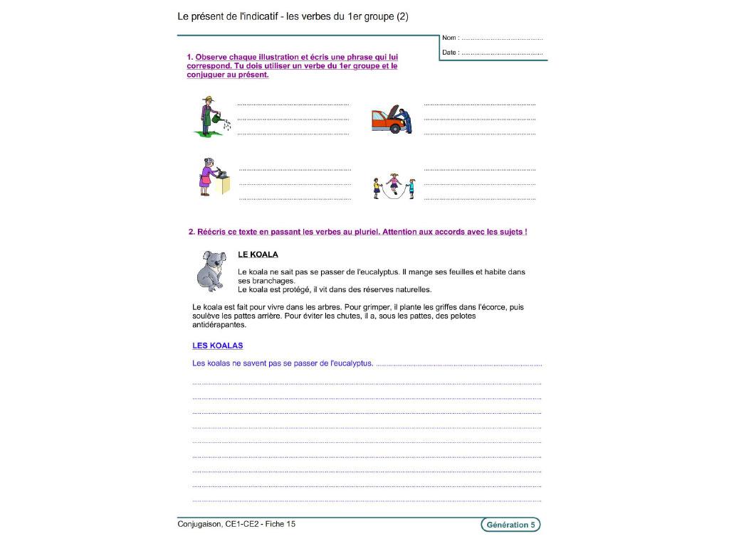Fiche exercice conjugaison CE1-CE2