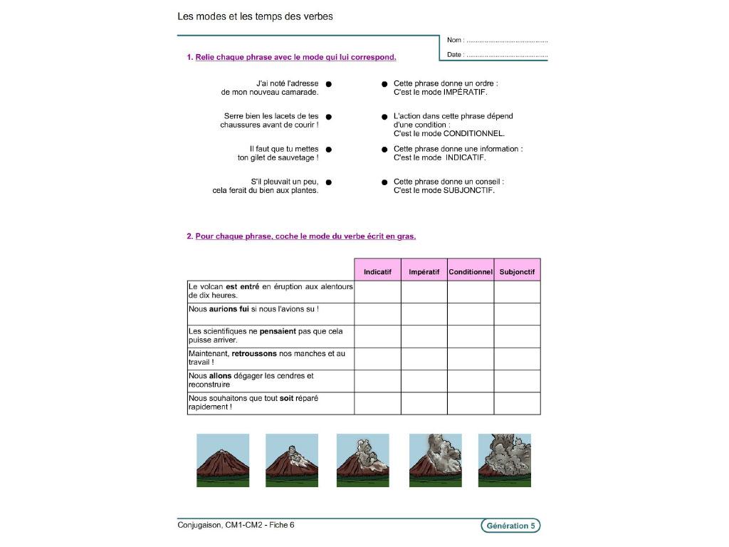 Fiche exercice verbe et conjugaison CM1-CM2