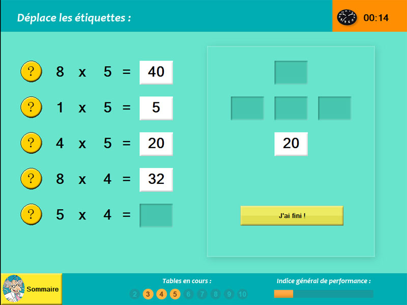 Tables de multiplication jeux educatifs en ligne - Table de multiplication matou matheux ...